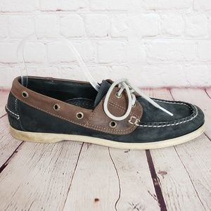 LL Bean Navy Leather Boat Shoes